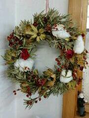ドライフラワーのクリスマスリース